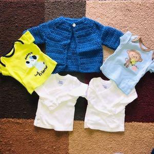 newborn shirts and sweater bundle